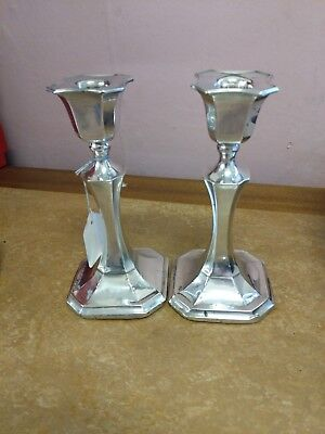 Pair of Antique Classical Solid Silver Candlesticks 1925 Chester