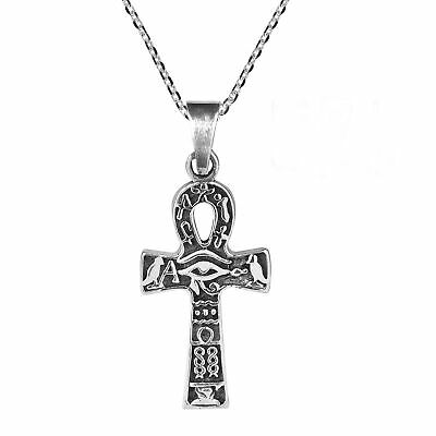Egyptian Eye of Horus Ankh Cross Sterling Silver Necklace