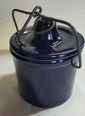 "5"" Cobalt Blue STONEWARE Butter Cheese CROCK Wire Bail LID"