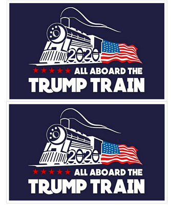 Donald Trump Bumper Sticker 2020 All Aboard The Trump Train