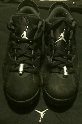 fd98c469cd07 NIKE AIR JORDAN 6 Retro Low Black metallic Silver 304401-003 Mens Sz ...