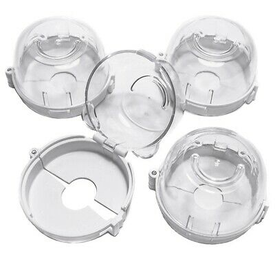 Clear Safety Oven Knobs Cover 4 Pack - Baby Proofing Protection Lock for Ov R9B5
