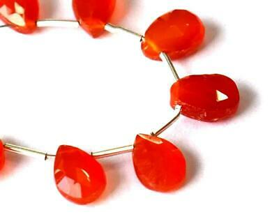 Natural Carnelian Beads Faceted Pear 6X8 - 6X9 Mm Gemstone 12 Cts - 7 Pcs #665