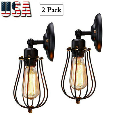 Wire Cage Wall Sconce Dimmable Black Metal Light Fixture 2 Pack