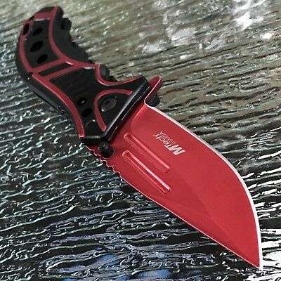 "MTECH USA 8.25"" SPRING ASSISTED TACTICAL RED FOLDING POCKET KNIFE Assist Open"
