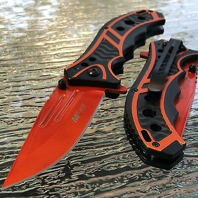 MTECH USA ORANGE SPRING ASSISTED TACTICAL FOLDING POCKET KNIFE Assist Open 8.25""