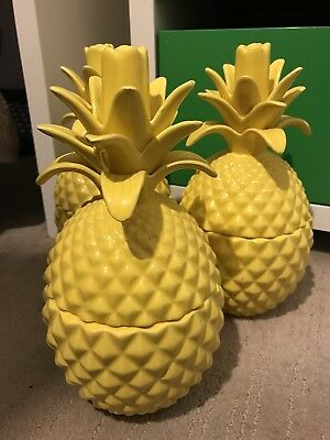 Ceramic Yellow Pineaples X 3 - each is a lidded jar / container