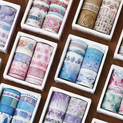 10 Rolls Washi Sticker Tape Decorative Sticky Paper Masking Adhesive Craft Tape