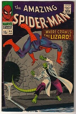 MARVEL Comics SPIDERMAN Amazing Silver age #44 1967  FN+ HIGH GRADE LIZARD man