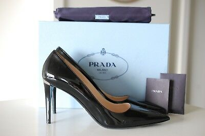 7052a05ed8bf Authentic PRADA Pointy Toe Black Patent Point Toe Pump Heel Shoes 9.5  US 39.5 EU