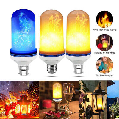 B22 E27 5W LED Burning Light Flicker Flame Bulb Fire Effect Decorative Lamp 1/2X