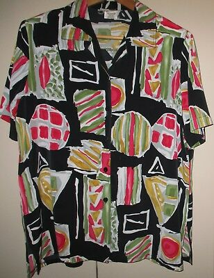 VINTAGE 80s BRIGHT PRINT WOMENS SHIRT SIZE 14 GOOD CONDITION