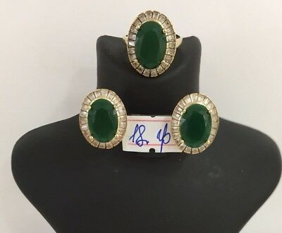 925 Sterling Silver Jewelry Emerald Ladies Earring and Ring Set