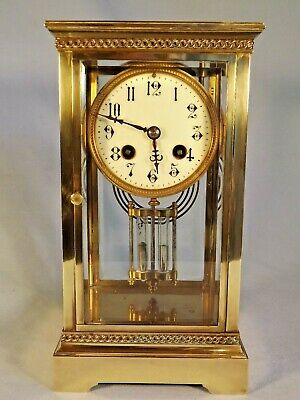 19c French Brass 4 Glass Clock In Working Order.