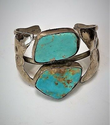 Antique American Southwest Tribal Artisan Huge Turquoise Silver Cuff Bracelet