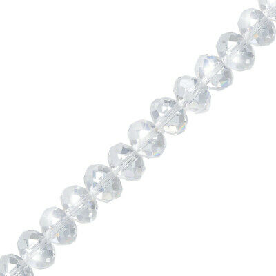 "Faceted Crystal Glass Rondelle Beads Clear 10mmx7mm 8"" (P45/1)"
