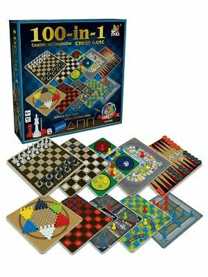 Traditional Classic 100 Board Games Family Fun Activity Indoor Game Kit Gift Set