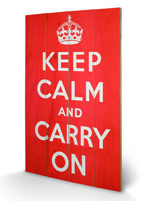 Merchandising Keep Calm And Carry On (Stampa Su Legno 76X45Cm) Merchandising - M