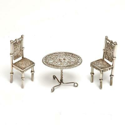 Silver Filigree Victorian Miniature Parlor Table & Chairs Dollhouse Furniture