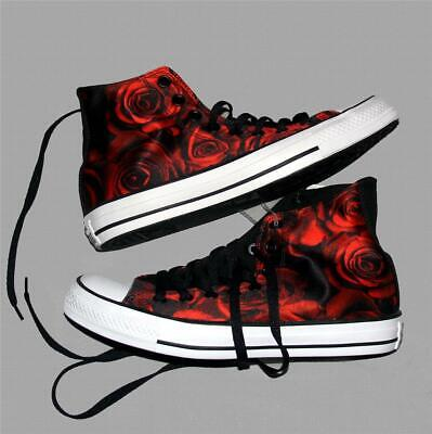 1cf72ce023b4 Converse Chic Bright Red   Black Satin ROSES Lined High Top Shoes Wms DISC  HTF