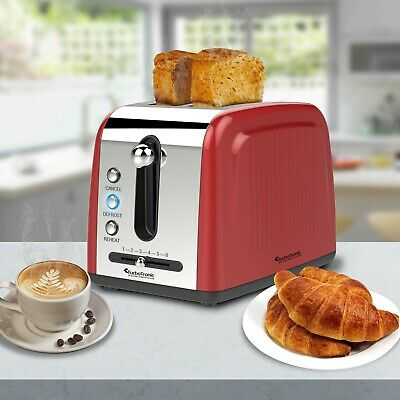 TurboTronic 2 Slice Retro Design Electric Pop-Up Toaster Variable Browning RED