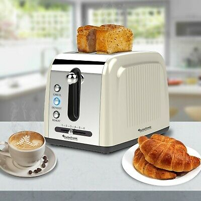TurboTronic 2 Slice Retro Design Electric Pop-Up Toaster Variable Browning CREAM