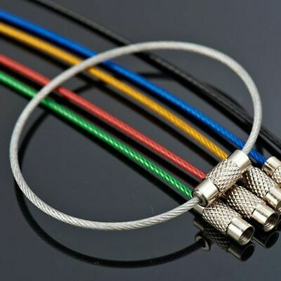 10Pcs Colorful EDC Keychain Stainless Steel Carabiner Key Holder Wire Cable Rope