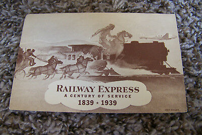Rare Vintage Antique Postcard Railway Express 1839-1939 Trains Planes Horses