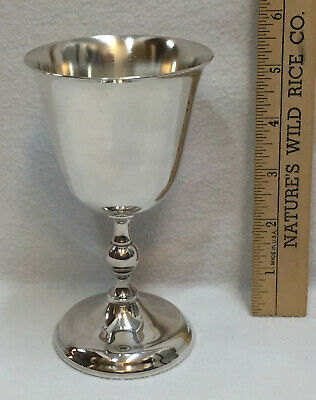"""Silverplate Wine Goblet Chalice Glass Vintage 5.5"""" Tall Silver Cup Pedestal Base"""