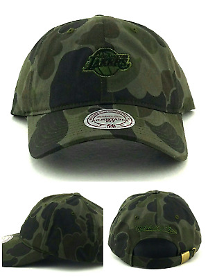 2defe6d576c77 Los Angeles Lakers New Mitchell   Ness Camo Clean Up Dad Era Strapback Hat  Cap