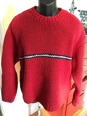 J. Crew Men s XL Hand Knit Sweater 100% Wool Fisherman Red Chunky Pullover 4d6f09b48