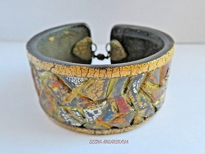Unique Handmade Ancient Egyptian Polymer Clay Antiqued Gold Cuff Bracelet