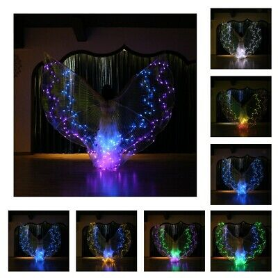 36 Color Changing LED Luminous Wings Belly Dance Light Up Adults Isis Wings