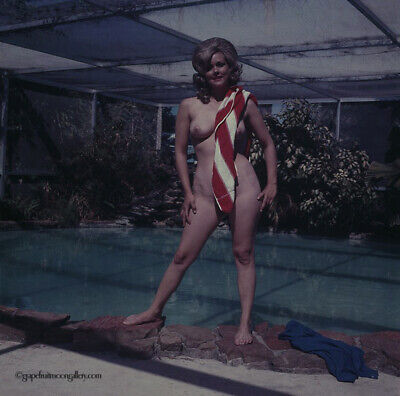 Bunny Yeager 1960s Color Camera Transparency Pin-up Nude Blonde Miami Poolside