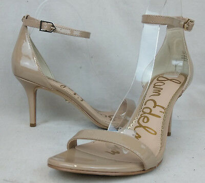 a973ed1f8 NEW Sam Edelman Sz 7 M Women s Beige Leather Ankle Strap Heels Sandals Shoes