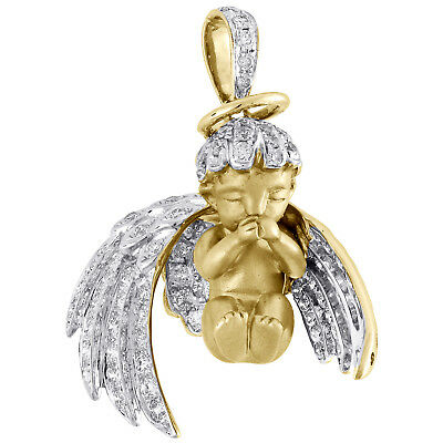"10K Yellow Gold Diamond Halo 3D Baby Angel Pendant 3d Wings 1.2"" Charm 0.94 CT"