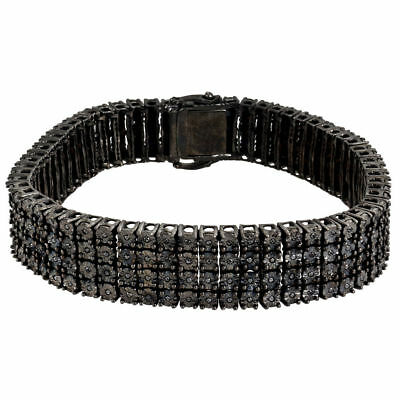 Mens Diamond Bracelet .925 Sterling Silver Pave Design 2 Ct