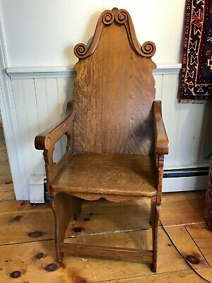 Vintage Wooden Oak Carved Church Alter Chair