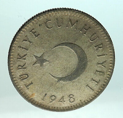 1948 TURKEY Crescent Moon & Star Genuine Silver Islamic 1 Lira Coin i75780