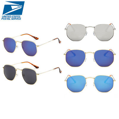 b2bc3e1fb338 Fashion Men Women s Metal Round Flat Sunglasses Vintage Retro Mirrored  Glasses G