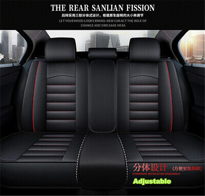 Universal Deluxe Full Seat PU Leather Car Seat Cover Cushion Pad 5D Surround