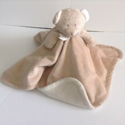 Blankets And Beyond Beige Bear Security Blanket Lovey White Underneath