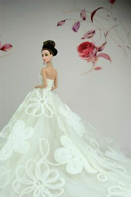 Handmade White Fashion Royalty Party Princess Dress Clothes/Gown For Barbie Doll