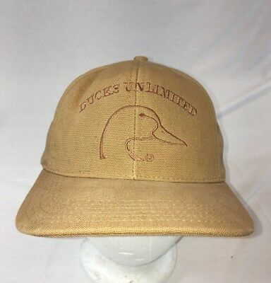 dc3efe31bff Ducks Unlimited Hat New Brown Tan Embroidered Stitching Adjustable Cap NWOT