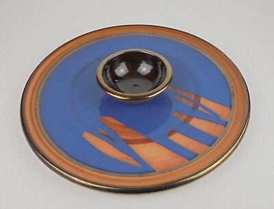 Joe Sartori Pottery Chip n Dip Platter Dish Blue Gold Made in Australia Signed