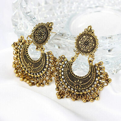 Metal Tassel Jhumka Indian Ethnic Bollywood Dangle Earrings Fashionable Jewelry