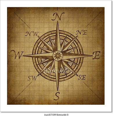 Compass Rose With Grunge Texture Art Print Home Decor Wall Art Poster - I
