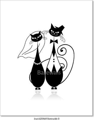 Groom And Bride, Cat's Wedding For Art Print Home Decor Wall Art Poster - I