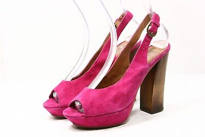 bde3c77b040 Jeffrey Campbell Womens Shoes SZ 7 Friend Fuchsia Pink Suede Leather Heels  Pumps