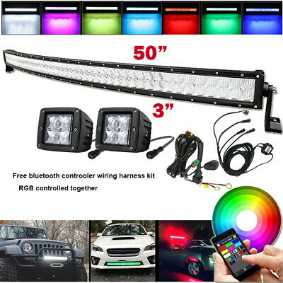 "5D RGB 50inch Curved Led Light Bar + 2x 3"" Cube Pods & Bluetooth Control Wiring"